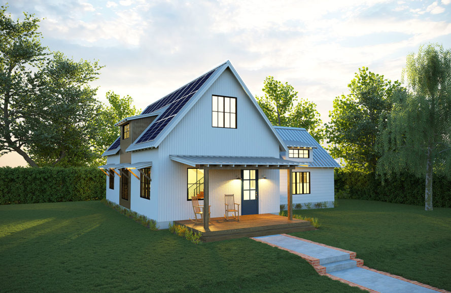 Deltec, solar farmhouse, Deltec Solar Farmhouse, farmhouse architecture, farmhouse design, solar powered home, solar power, solar architecture, solar design, prefabricated housing, prefab home, prefab house, energy-efficient home, eco home, green home, eco-friendly home, passive solar design, passive design, solar home, passive home, passive house, deltec renew collection, deltec classic homes, deltec north carolina, where to buy a prefab home, how to buy a prefab home, covered back porch, metal roof, fresh air ventilation, passive solar awnings, detached carport, detached garage, front porch, covered front porch,  passive solar design, air-tight building envelope, open layout, photovoltaic panels