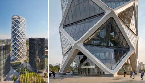 Poly International Plaza by SOM, Poly International Plaza Beijing, diagrid towers, diagrid exoskeleton, SOM Beijing projects, Beijing glass skyscrapers, China Poly Group architecture