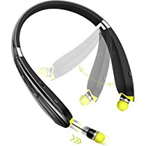 Levin Upgraded Bluetooth Headphones Bluetooth 4.1 Wireless Headphone with Foldable Neckband Design Retractable Earbuds for iPhone, Samsung Galaxy Series, Android and Other Bluetooth-Enabled Devices