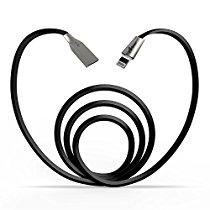 Lightning Cable, Aimus 6FT Zinc-Alloy Lightning to USB Cable with LED Light Fast Sync Date Charging Cable for iPhone 6S / 6 Plus, iPhone SE, iPhone 5S 5C 5, iPad, iPod - 6 Feet(1.8 M) (Black-6FT)