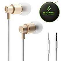 ROVKING Wired Metal In Ear Earbuds Headphones with Mic and Case Bass Stereo Noise Isolating Ear Buds Inear Earphones - Lightweight, Alluminum Alloy, iPhone Color, Inline Remote