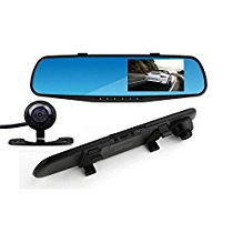 Ezonetronics Car Camera | Car Video Recorder Full HD 1080P | Car Video Camera 4.3 Inch LCD with Dual Lens for Vehicles Front & Rearview Mirror | DVR Vehicles Dash Cam with SD card SD2010 …