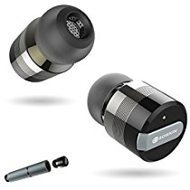 Rowkin Bit Stereo Bluetooth Headphones, Truly Wireless Earbuds with Mic. Smallest Cordless Hands-Free In-Ear Earphones Headsets with Portable Charger & Noise Reduction for Running and iPhone.