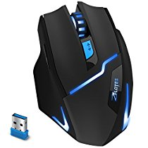 2.4G Wirelss Gaming Mouse, Zelotes Wireless Mouses Gaming with USB Receiver, 3 Adjustable DPI Levels Gaming Gamer Mice, 6 Buttons for Notebook, PC, Laptop, Computer, Macbook- Black.