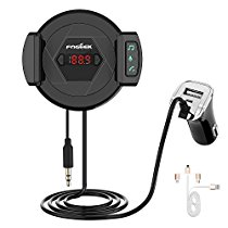 Bluetooth FM Transmitter, FOGEEK HIFI Wireless Radio Adapter,Audio Receiver Stereo,Car Kit With [USB Fast Car Charger][Microphone Hands Free Calling][Phone Holder] AUX Input for iPhone,Android and MP3
