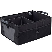 Auto Trunk Storage Organizer Bin with Pockets - Portable Cargo Carrier Caddy for Car Truck SUV Van, 21 x 15 x 10 Folding Bag