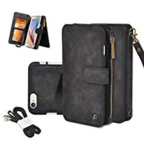 Iphone Wallet Case, CORNMI Detachable Leather Magnetic Outdoor Sport Flip Case Folio Stand Case Zipper Coin Purse Card Slot Pocket Wallet for Iphone