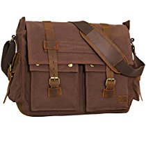 "WOWBOX Messenger Satchel bag for men and women Vintage canvas real leather 14-inch Laptop Briefcase 13""(L)x10.5""(H) x 4.1""(W) ¡­"