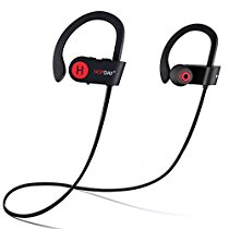 Bluetooth Headphones, HOPDAY U8 V4.1 Wireless In-ear Sports Earbuds with Built-in Mic Stereo Sound Noise Cancelling IP68 Waterproof and Sweatproof Headsets with Secure Ear Hook for Running Exercising