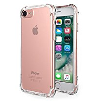 iPhone 7 Case,Amuoc Crystal Clear Cover Case [Shock Absorption] with Transparent Hard Plastic Back Plate and Soft TPU Gel Bumper (Clear)